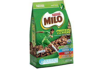 Milo Protein Clusters: 18.8g sugar per serve (with milk)