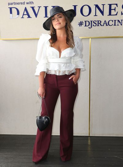 <p>No. 9 Olympia Valance</p> <p>The actress was an early style started on Caulfield Cup Day wearing an Acler top, Theory pants and Melissa Jackson millinery with knock out earrings from Dinosaur Designs.</p>
