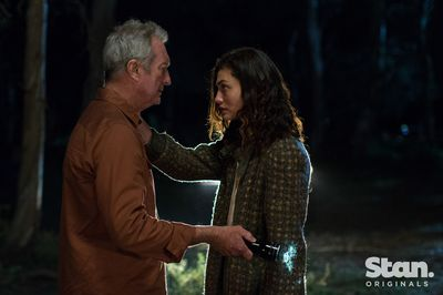 Bryan Brown as Ray Reed and Phoebe Tonkin as Young Gwen