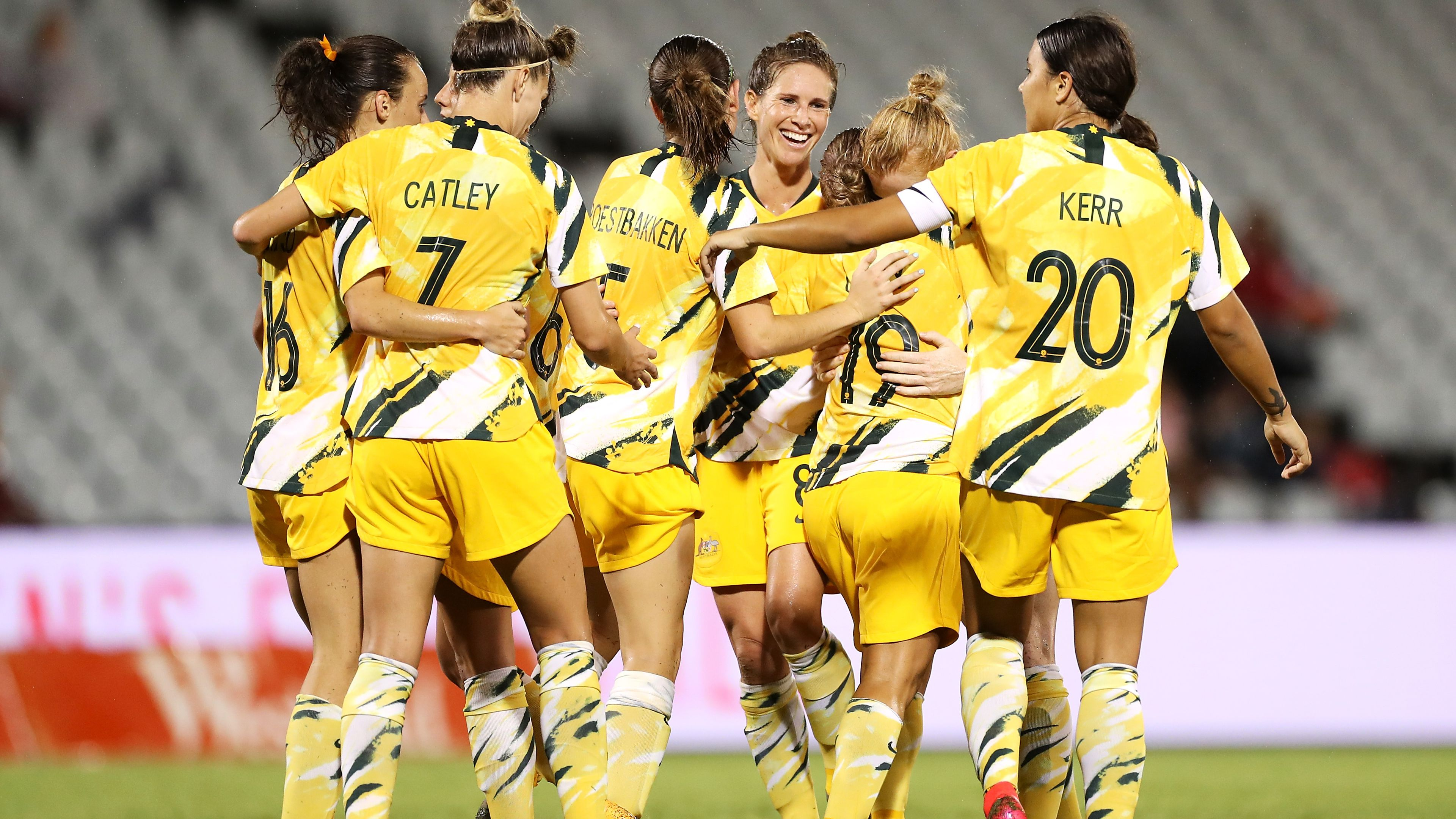 Katrina Gorry of the Matildas celebrates with her team mates after scoring a goal during the Women's Olympic Football Tournament Qualifier match between the Australian Matildas and Chinese Taiepi at Campbelltown Sports Stadium on February 07, 2020.