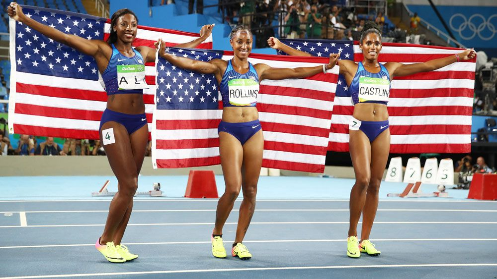 The US secured a clean sweep in the women's 100m hurdles. (Getty Images)