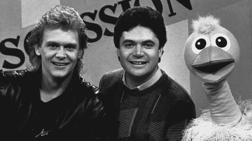 John Farnham pictured on the set of Hey Hey It's Saturday in 1985 with Darryl Somers and Ossie ostrich.