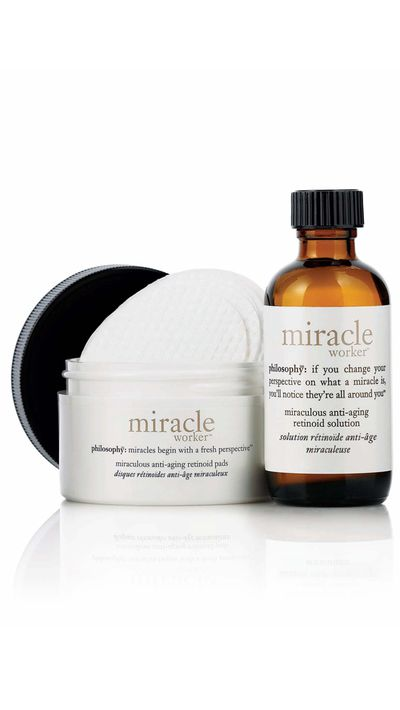 "<p><a href=""http://www.adorebeauty.com.au/philosophy-miracle-worker-miraculous-anti-aging-retinoid-pads.html"" target=""_self"">Miracle Worker Anti-ageing Retinoid Pads, $95, Philosophy</a></p>"