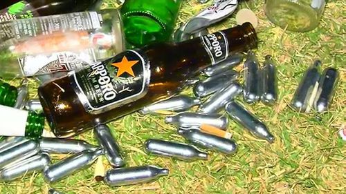 Dangerous nitrous oxide canisters were left behind. (9NEWS)