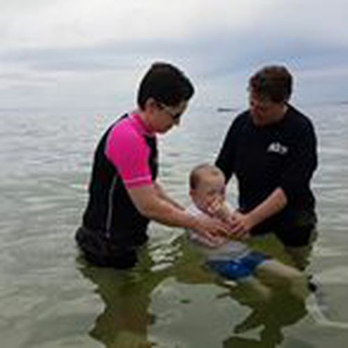 Jack, aged nine, with Sunday School teacher Tamaryn and Pastor Becky, about to be baptised.
