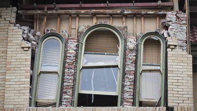 A damaged building after a 6.0 magnitude earthquake hit the San Francisco Bay Area, in Napa, California, USA, 24 August 2014. (AAP)