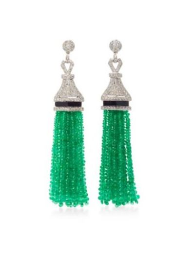 "<a href=""https://www.modaoperandi.com/sanjay-kasliwal-r17/universal-emerald-drop-earrings"" target=""_blank"">Earrings, $16,800 approx, Sanjay Kasliwal at modaoperandi.com</a>"