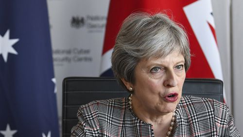 British Prime Minister Theresa May speaks during the meeting with Commonwealth leaders. (AAP)