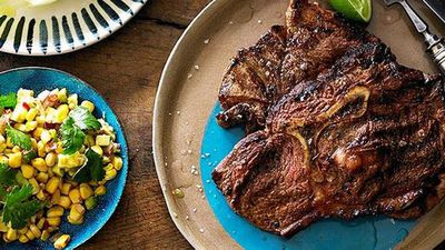 <strong>Cajun-spiced Y-bone with grilled corn and avocado salsa</strong>