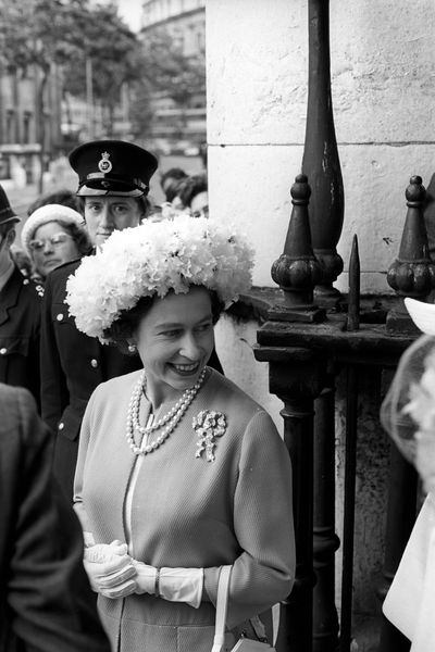 Queen Elizabeth II after attending the wedding of the Marquess of Hartington and Amanda Carmen Heywood-Lonsdale at St Martin-in-the-Fields, Trafalgar Square