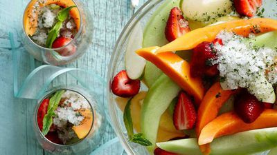"Recipe:&nbsp;<a href=""https://kitchen.nine.com.au/2016/05/16/13/43/champagne-fruit-salad-with-mint-lime-granita"" target=""_top"" draggable=""false"">Champagne fruit salad with mint lime granita</a>"