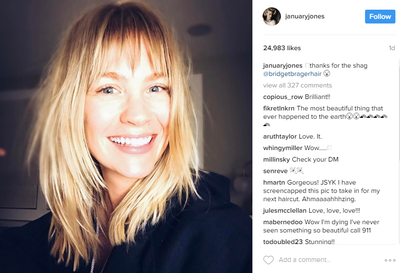 "An hour or later January posted a self-portrait to her Instagram account showing off an edgy new style. Her 70's-inspired 'shag' comes complete with choppy bangs and January is clearly pretty chuffed with it.<br /> ""Thanks for the shag,"" she posted cheekily."