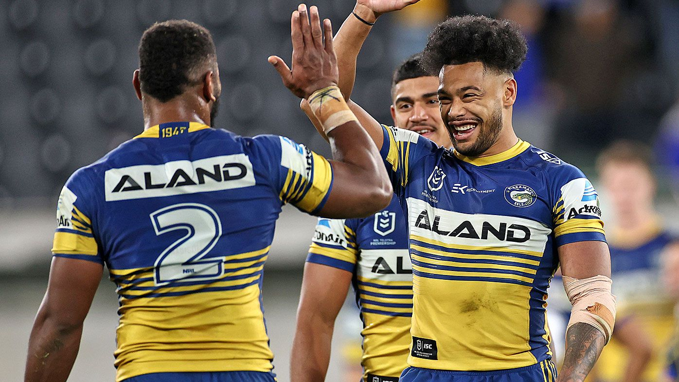 Waqa Blake of the Eels and Maika Sivo of the Eels celebrate after winning