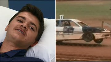 Kurtis Blackburn had a lucky escape after crashing his car into a concrete wall during a speedway race in Ellenbrook.
