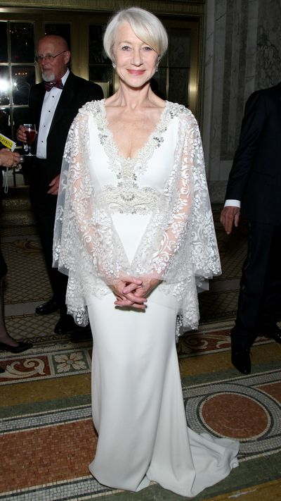 <p>Helen Mirren in Badgley Mischka at the Tony Awards.</p>
