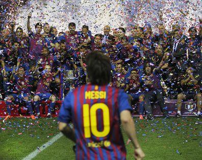 Lionel Messi celebrates Barcelona win