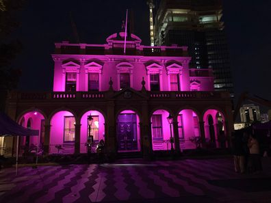 Parramatta Town Hall was illuminated in pink lights for the event.