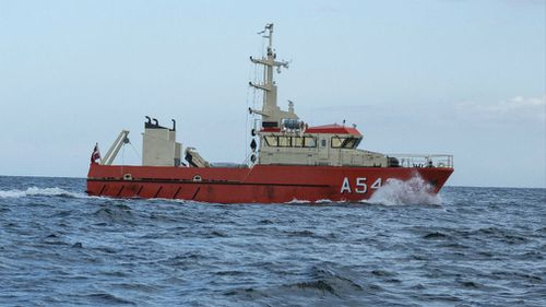 The Danish navy's ship 'Fyrholmen' in Koge Bay, South of Copenhagen, during the continuing search for Swedish journalist Kim Wall. (AAP)