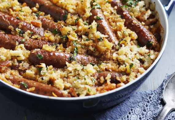 Sausage and white bean casserole with herbed breadcrumbs