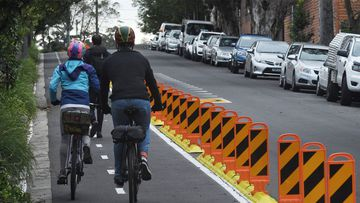 This pop up bike lane on Birdge Street in Erskineville will become permanent.