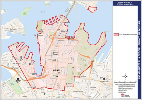 A perimeter has been set up for the Sydney CBD during the ASEAN Summit in which police can close streets, remove vehicles and conduct random searches. Picture: NSW Police.