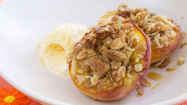 Walnut and cinnamon baked peach halves
