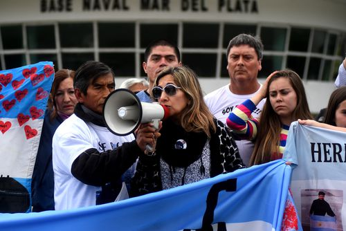 Relatives of the crew members of the Argentinian missing submarine ARA San Juan hold a rally at the Mar del Plata naval base yesterday.