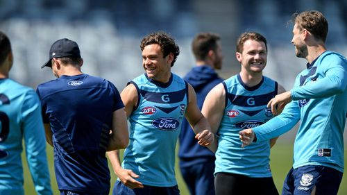 The Geelong Cats at training this week.