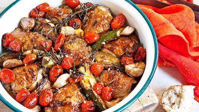 "Recipe:&nbsp;<a href=""http://kitchen.nine.com.au/2016/05/05/15/25/panroasted-chicken-with-maple-syrup-and-tomatoes"" target=""_top"">Pan-roasted chicken with maple syrup and tomatoes<br /> </a>"