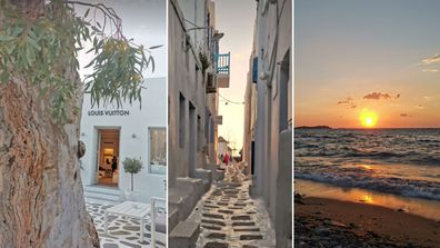 Australian gum trees lined the winding streets of Mykanos that led us to the pebble beach for a vibrant sunset.