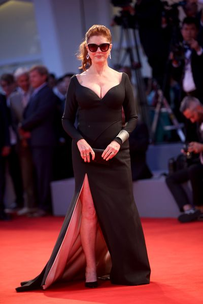 "<p>This year's <a href=""http://"" target=""_blank"">Venice Film Festiva</a>l looked like becoming the George and Amal Clooney show but Susan Sarandon hasn't spent more than 50 years in the industry without learning a thing or two about stealing scenes. </p> <p>Sarandon's daring Hugo Boss gown clung to her curvaceous figure and exuded a sensuality that has been the 70-year-old's signature since <em>The Rocky Horror Show</em> and <em>Pretty Baby</em>.</p> <p>In a show of mature woman power Sarandon was on-hand to support Dame Helen Mirren, 72 who stars alongside Donald Sutherland in <em>The Leisure Seeker</em>.</p> <p>Mirren took a more sedate and sophisticated approach to red carpet dressing in a Sassi Holford silver and black gown, that was also cut to showcase her cleavage.</p> <p>The woman were part of an ongoing red carpet trend at European film festivals, where flaunting it is as essential as accessorising with Chopard jewellery. </p>"