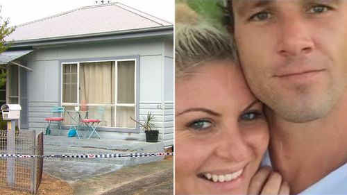 Blair Dalton and Lance Pearce and the house where Ms Dalton was found injured.