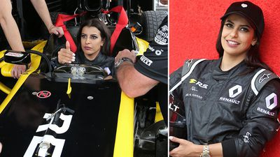 Saudi woman celebrates end of driving ban with F1 lap
