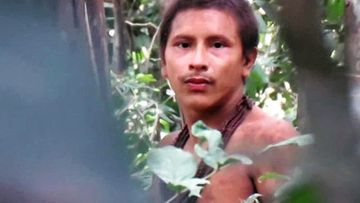 The surreal footage shows what appears to be an uncontacted Awá tribesman, who live in a protected reservation in eastern Brazil.