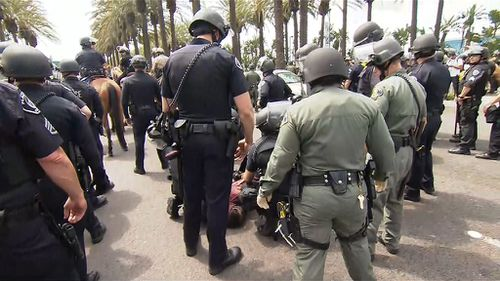 Supporters and protesters clashed in Los Angeles. (9NEWS)