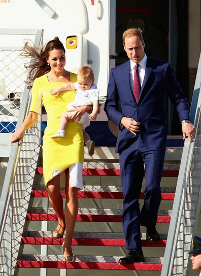 Prince William, Duke of Cambridge, Kate Middleton, Duchess of Cambridge and Prince George of Cambridge arrive at Sydney Airport on RAAF B737 on April 16, 2014 in Sydney, Australia.