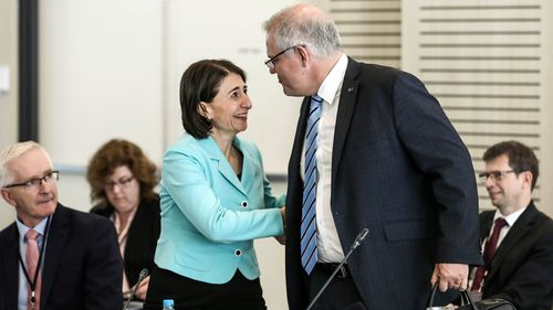 Prime Minister Scott Morrison greets NSW Premier Gladys Berejiklian ahead of a Council of Australian Governments meeting held at Bankwest Stadium in Parramatta, Sydney in March.