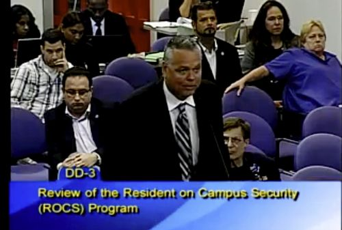 Pictured is Scot Peterson from a video provided by Broward County Public Schools from 2015. (AAP)