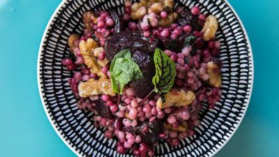 "Recipe: <a href=""https://kitchen.nine.com.au/2017/05/26/14/08/blue-cabooses-roasted-beetroot-and-cous-cous-salad"" target=""_top"">Blue Caboose's roasted beetroot and cous cous salad</a>"