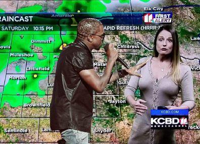 The popular weather presenter during a 'Kayne vs Kelly' segment.