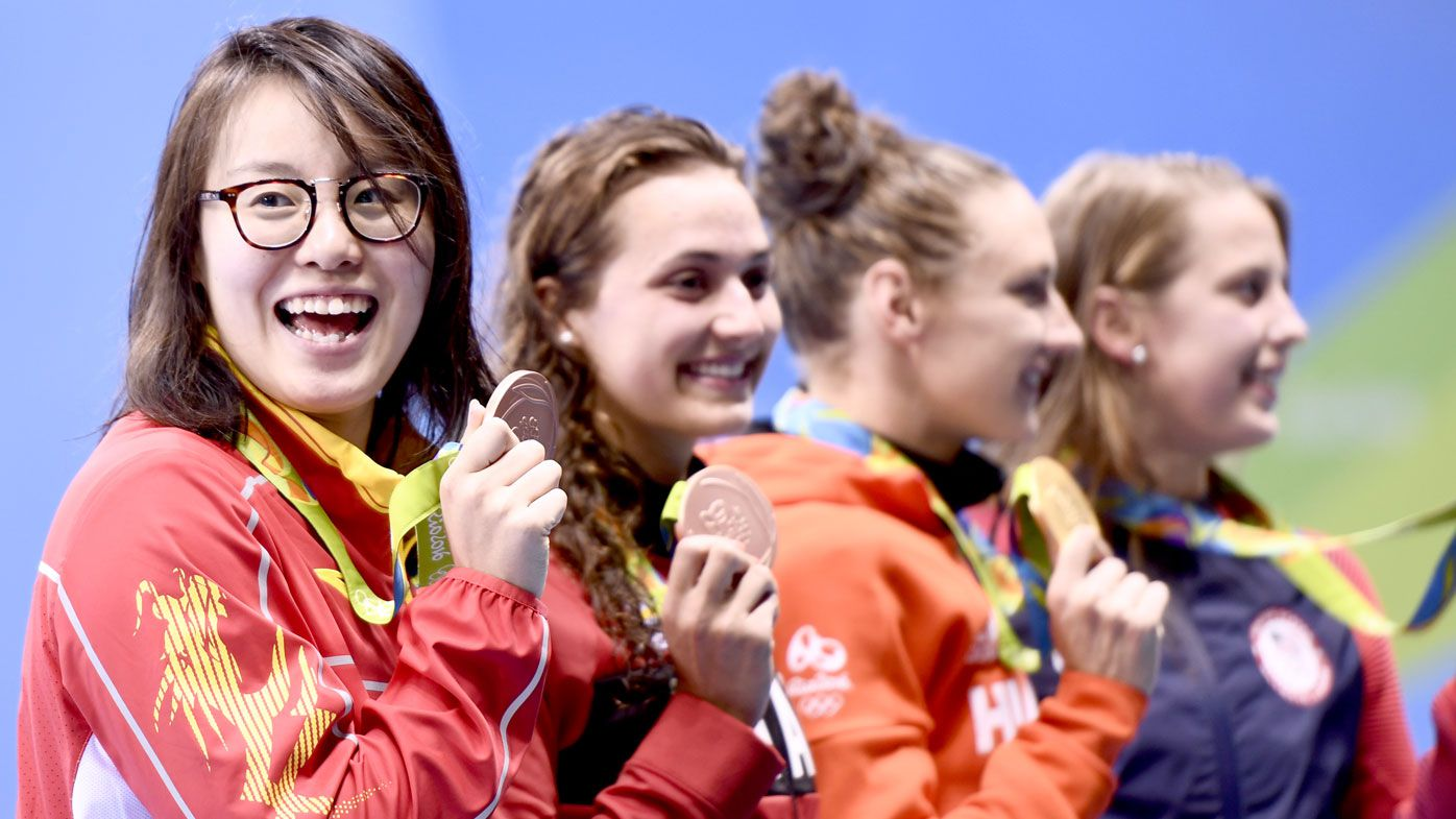 Fu Yuanhui with her surprise bronze medal. (AFP)