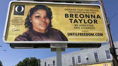 A billboard sponsored by O, The Oprah Magazine, is on display with with a photo of Breonna Taylor, Friday, Aug. 7, 2020 in Louisville, KY