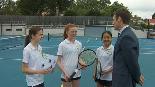 The girls explain their invention. (9NEWS)
