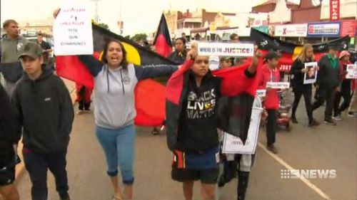 Hundreds of protesters marched against the impending parole of Elijah Doughty's killer in Kalgoorlie.
