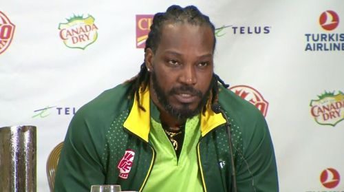 West Indies player Chris Gayle is getting into the action in Canada. Picture: 9NEWS