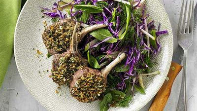 <strong>Herb crusted lamb cutlets with red cabbage and green apple slaw</strong>