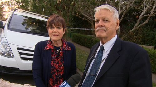 Neighbours Gale and Robert Meagher told 9NEWS the body was found under a rug in the home. Picture: 9NEWS