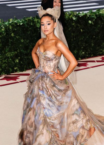 Ariana Grande in Vera Wang at Metropolitan Museum of Art Gala in New York, May, 2018