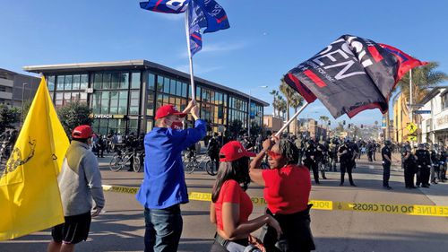 """Trump supporters gathered in Pacific Beach for a """"Patriot March"""" were met by counter-protesters."""