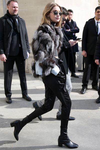 Gigi Hadid arrives at the shows during Paris Fashion Week.